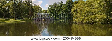 Petersburg Russia - June 29 2017 Tsarskoe Selo Marble bridge