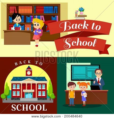 Back to school set of pictographs, childrens life newspaper and library, boys playing basketball girls cheerleader team, teacher with pupils at class, professor lecture in college, building vector illustration