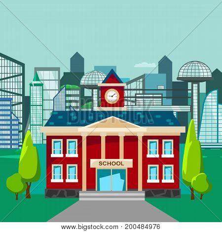 modern school buildings exterior, student city concept, elementary school facade urban street background, icons set vector illustration.