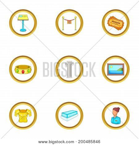 Museum icons set. Cartoon illustration of 9 museum vector icons for web design