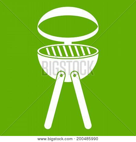 Barbecue grill icon white isolated on green background. Vector illustration