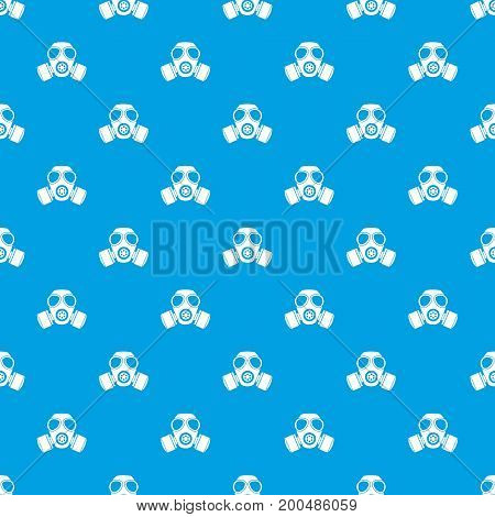 Chemical gas mask pattern repeat seamless in blue color for any design. Vector geometric illustration