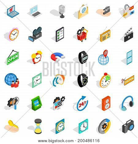 Good device icons set. Isometric style of 36 good device vector icons for web isolated on white background