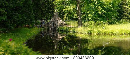 Petersburg Russia - June 29 2017: Tsarskoe Selo Mystical place on the lake