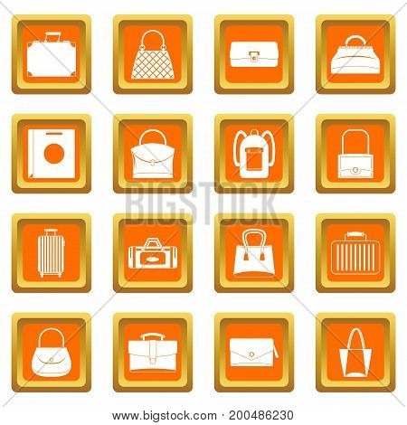Bag baggage suitcase icons set in orange color isolated vector illustration for web and any design
