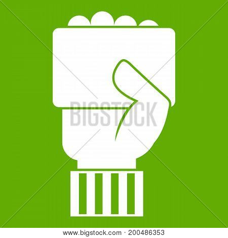 Hand of soccer referee showing card icon white isolated on green background. Vector illustration