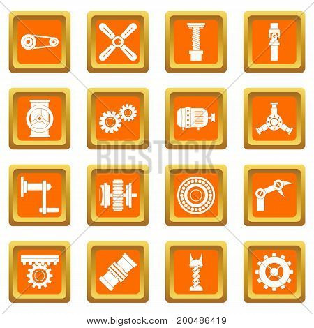 Techno mechanisms kit icons set in orange color isolated vector illustration for web and any design