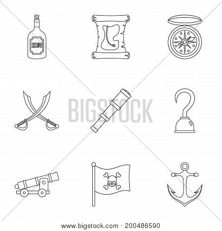Pirates icon set. Outline set of 9 pirates vector icons for web isolated on white background
