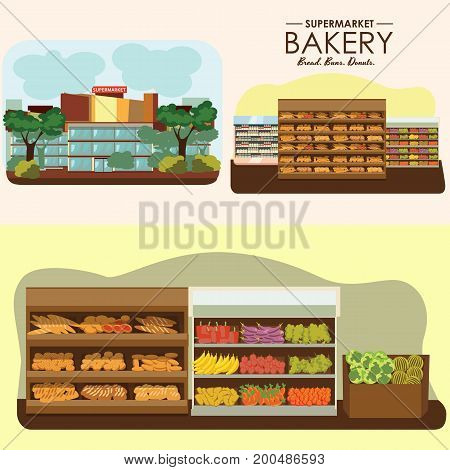 set of supermarket departments, fruit food store, grocery row with vegetable products on shelfs in market, bread bakery shop interior vector illustration.