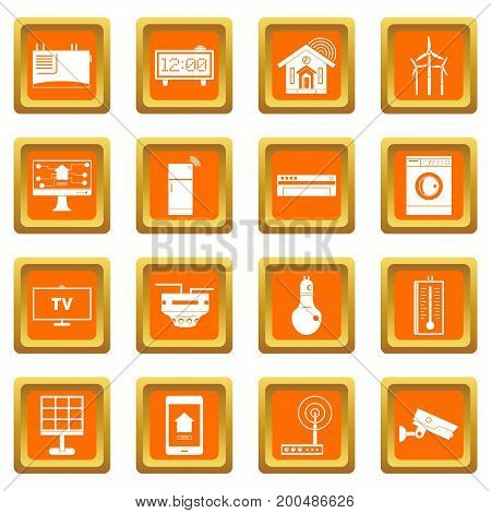 Smart home house icons set in orange color isolated vector illustration for web and any design