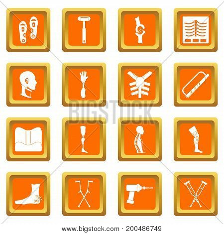 Orthopedics prosthetics icons set in orange color isolated vector illustration for web and any design