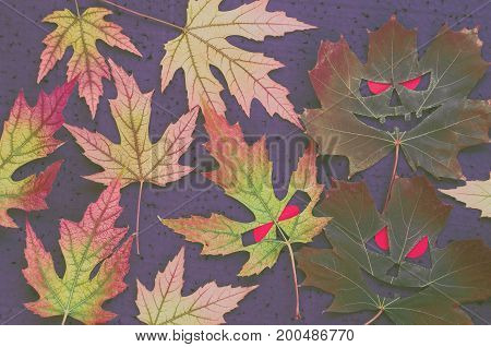 Dark Autumnal Pattern In Halloween Style - Maple Leaves In The Form Of Evil Faces With Red Eyes On A