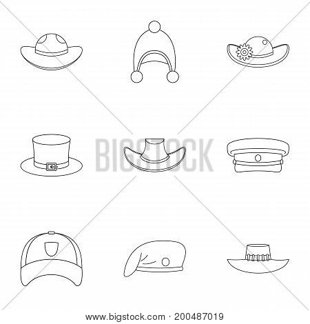 Hat icon set. Outline set of 9 hat vector icons for web isolated on white background