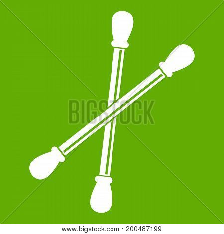 Cotton buds icon white isolated on green background. Vector illustration