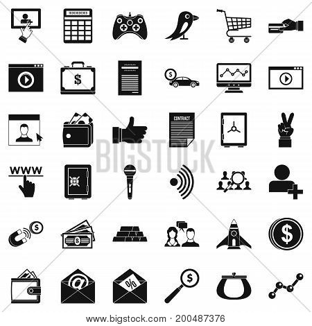 Digital contract icons set. Simple style of 36 digital contract vector icons for web isolated on white background