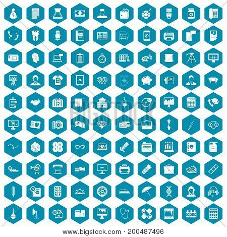 100 department icons set in sapphirine hexagon isolated vector illustration