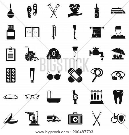 Care of person icons set. Simple style of 36 care of person vector icons for web isolated on white background