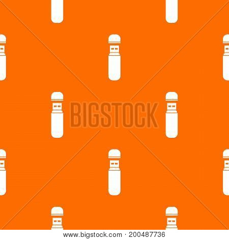 USB flash drive pattern repeat seamless in orange color for any design. Vector geometric illustration