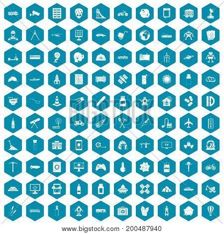 100 development icons set in sapphirine hexagon isolated vector illustration