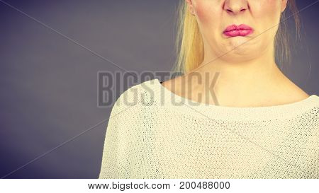 Woman Having Disgusted Face Expression