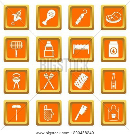 BBQ food icons set in orange color isolated vector illustration for web and any design