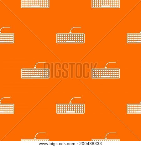 Black computer keyboard pattern repeat seamless in orange color for any design. Vector geometric illustration