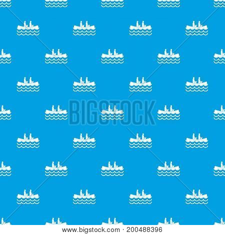 Canoeing pattern repeat seamless in blue color for any design. Vector geometric illustration