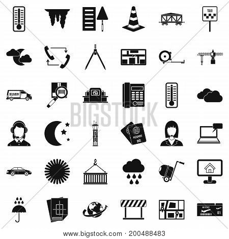 Woman dispatcher icons set. Simple style of 36 woman dispatcher vector icons for web isolated on white background