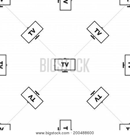 Television pattern repeat seamless in black color for any design. Vector geometric illustration