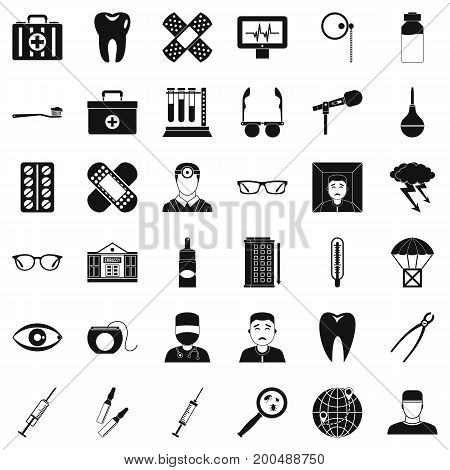 Clever doctor icons set. Simple style of 36 clever doctor vector icons for web isolated on white background