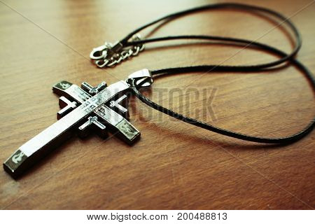 Christianity Cross On Table Close Up High Quality