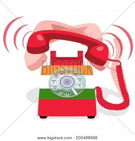 Ringing red stationary phone with rotary dial and with flag of India. Vector illustration
