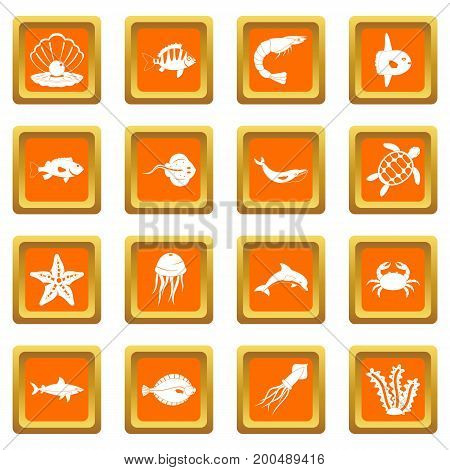 Sea animals icons set in orange color isolated vector illustration for web and any design