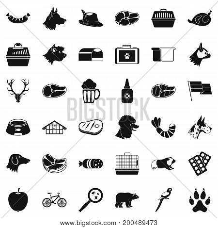 Domestic dog icons set. Simple style of 36 domestic dog vector icons for web isolated on white background