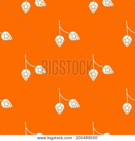 Branch of hops pattern repeat seamless in orange color for any design. Vector geometric illustration