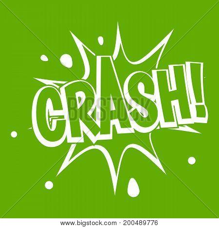 Crash explosion icon white isolated on green background. Vector illustration
