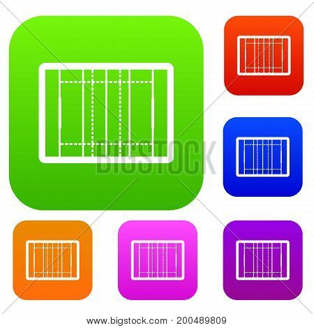 Rugby field set icon in different colors isolated vector illustration. Premium collection