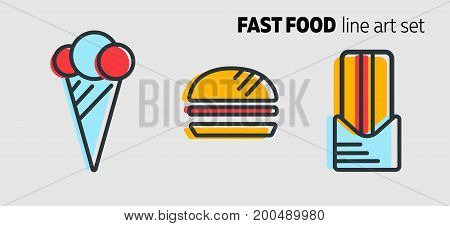 Fast food design concept, flat style banner with thick line art. Street food icons on grey background. Ice cream, burger and hot dog. Vector illustration