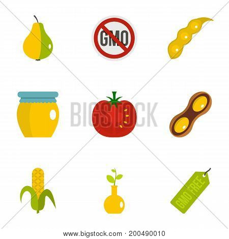 GMO free icon set. Flat set of 9 GMO free vector icons for web isolated on white background