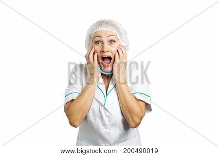 Happy medical doctor looking excited. Mature nurse is excited. Happy cheerful woman nurse or adult doctor in excitement on white background.