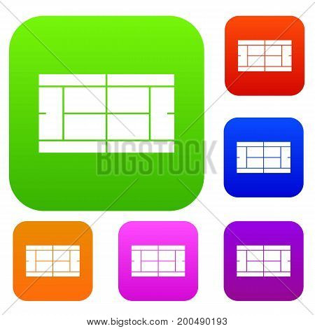 Tennis court set icon in different colors isolated vector illustration. Premium collection