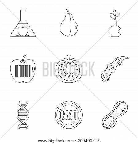 GMO icon set. Outline set of 9 GMO vector icons for web isolated on white background