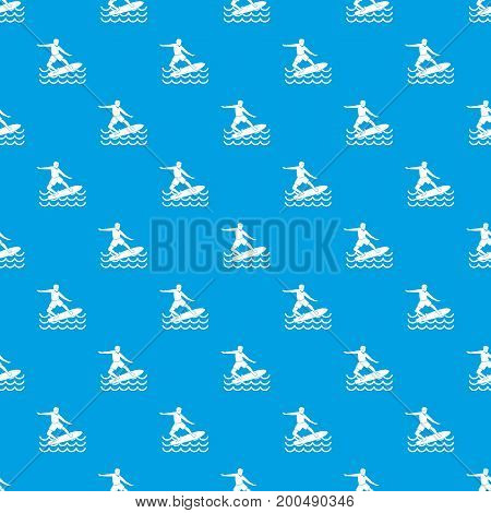 Surfer man pattern repeat seamless in blue color for any design. Vector geometric illustration