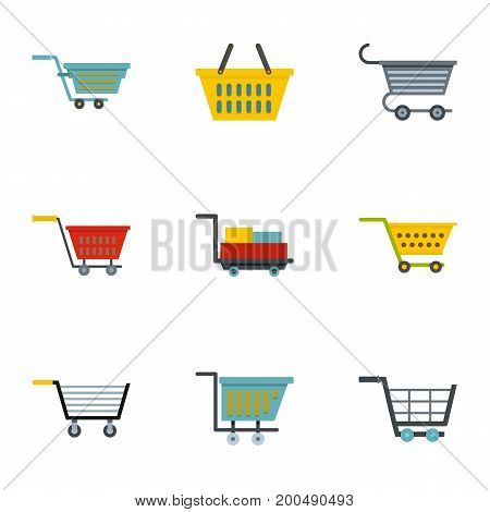 Shop cart icon set. Flat set of 9 shop cart vector icons for web isolated on white background