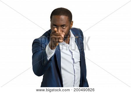 Afro american businessman pointing index finger. Handsome beard manager gesturing STOP.