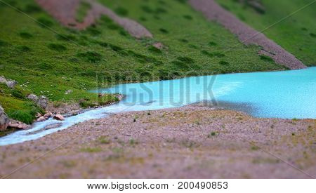 Panorama Of A Mountain Milky Blue Lake