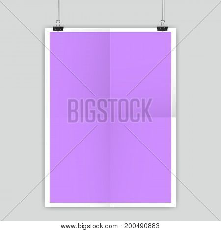 Vertical paper A4 on a rope for your text or design. Vector, eps 10