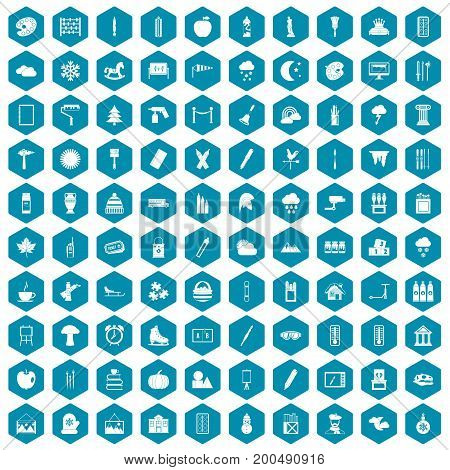 100 drawing icons set in sapphirine hexagon isolated vector illustration