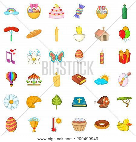 Easter celebration icons set. Cartoon style of 36 easter celebration vector icons for web isolated on white background