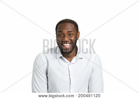 Excited businessman express happiness. Joyful afro american man in white shirt on white background. Portrait of black man with positive emotions.